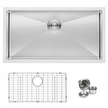 BAI 1248 Handmade 33-inch Undermount Shallow Single Bowl 16 Gauge Stainless Steel Kitchen Sink