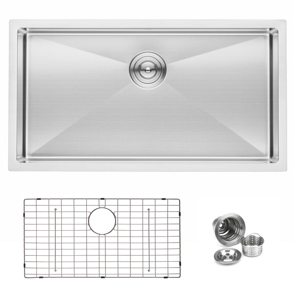 "BAI 1248 - 33"" Shallow Handmade Stainless Steel Kitchen Sink Single Bowl Undermount 16 Gauge"