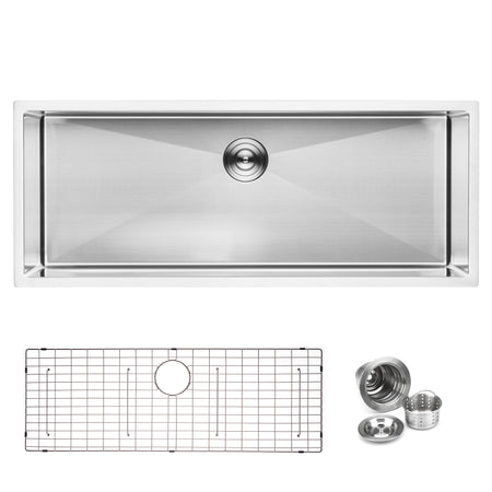 "BAI 1249 - 45"" Handmade Stainless Steel Kitchen Sink Single Bowl Undermount 16 Gauge"