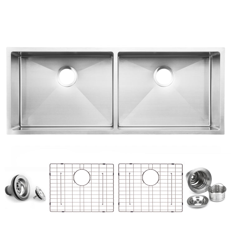 BAI 1250 Stainless Steel 16 Gauge Kitchen Sink Handmade 45-inch Undermount Double Bowl