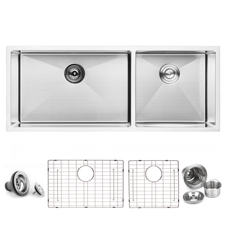 BAI 1251 Stainless Steel 16 Gauge Kitchen Sink Handmade 45-inch Undermount Double Bowl