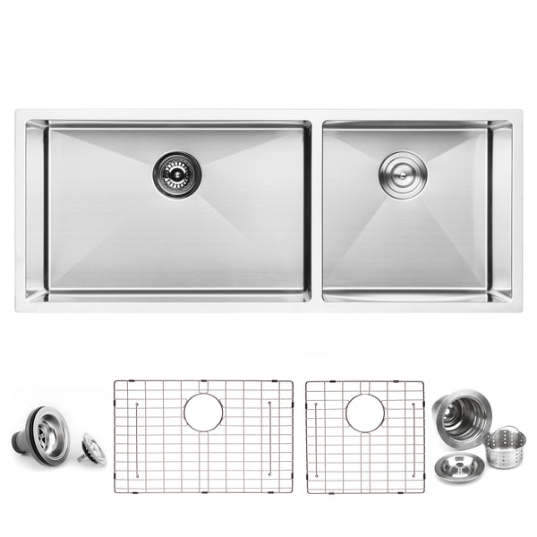 "BAI 1251 - 45"" Handmade Stainless Steel Kitchen Sink Double Bowl Undermount 16 Gauge"