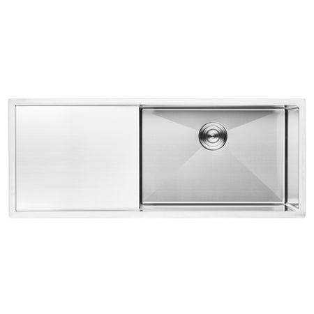 BAI 1252 Stainless Steel 16 Gauge Kitchen Sink Handmade 45-inch Undermount Single Bowl with Drainboard