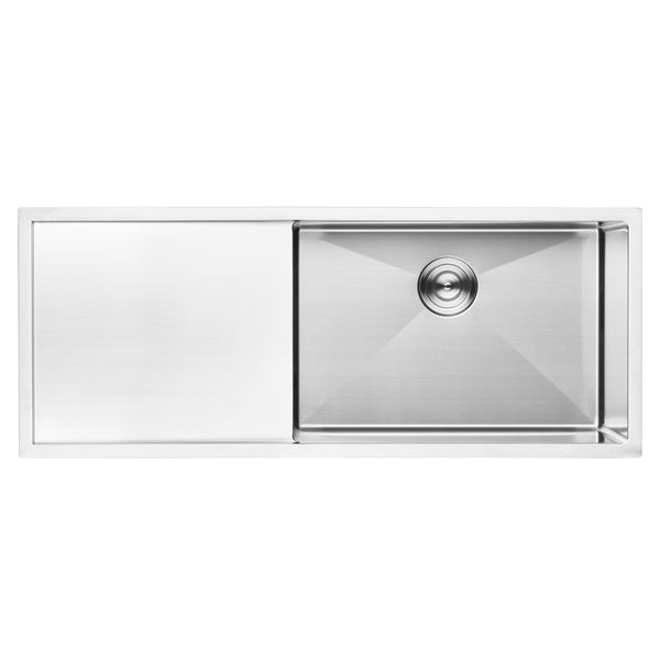 "BAI 1252 - 45"" Handmade Stainless Steel Kitchen Sink Single Bowl With Drainboard Undermount 16 Gauge"
