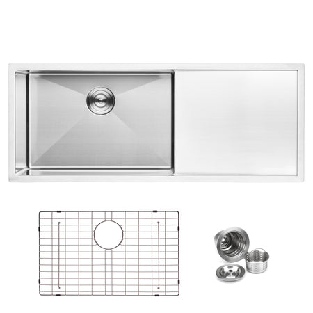 BAI 1253 Handmade 45-inch Undermount Single Bowl with Drainboard 16 Gauge Stainless Steel Kitchen Sink