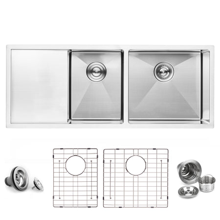 BAI 1254 Stainless Steel 16 Gauge Kitchen Sink Handmade 45-inch Undermount Double Bowl with Drainboard