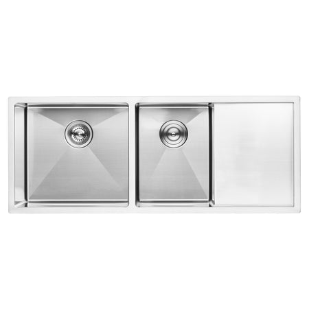 "BAI 1255 - 45"" Handmade Stainless Steel Kitchen Sink Double Bowl With Drainboard Undermount 16 Gauge"