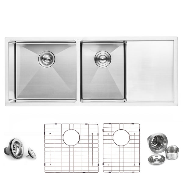 BAI 1255 Stainless Steel 16 Gauge Kitchen Sink Handmade 45-inch Undermount Double Bowl with Drainboard