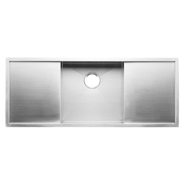 "BAI 1257 - 45"" Handmade Stainless Steel Kitchen Sink Single Bowl With Two Drainboards Undermount 16 Gauge"