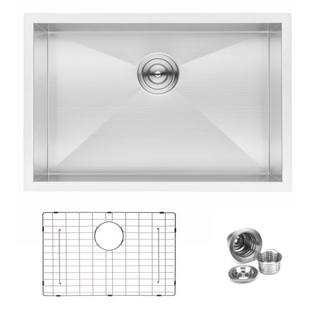BAI 1290 Stainless Steel 16 Gauge Kitchen Sink Handmade 27-inch Undermount Zero Radius Single Bowl