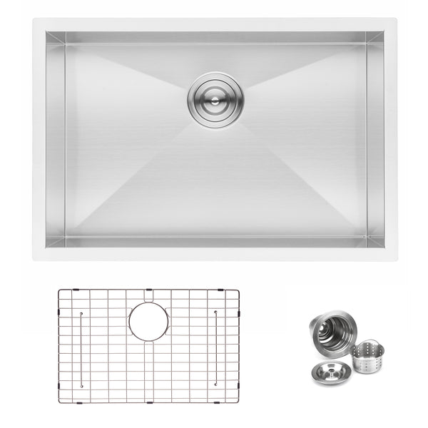 "BAI 1290 - 27"" Zero Radius Handmade Stainless Steel Kitchen Sink Single Bowl Undermount 16 Gauge"