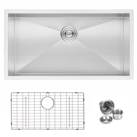 BAI 1291 Stainless Steel 16 Gauge Kitchen Sink Handmade 33-inch Undermount Zero Radius Single Bowl