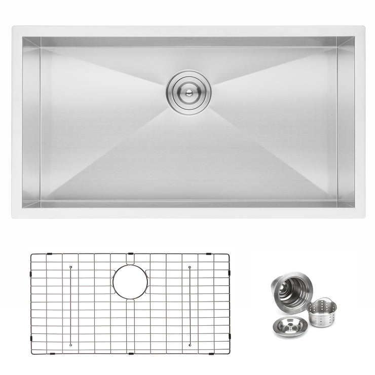 "BAI 1291 - 33"" Zero Radius Handmade Stainless Steel Kitchen Sink Single Bowl Undermount 16 Gauge"
