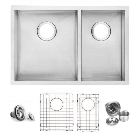 BAI 1292 Stainless Steel 16 Gauge Kitchen Sink Handmade 27-inch Undermount Zero Radius Double Bowl