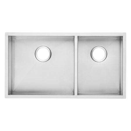 BAI 1293 Stainless Steel 16 Gauge Kitchen Sink Handmade 33-inch Undermount Zero Radius Double Bowl