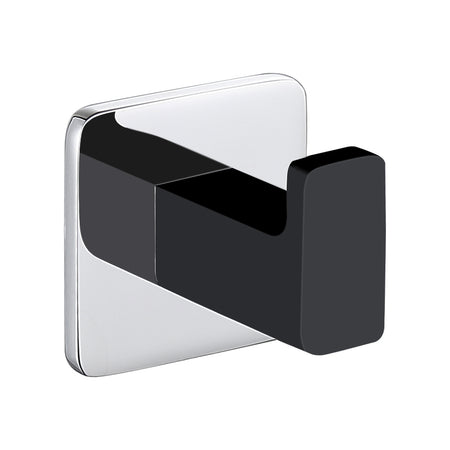 BAI 1527 Robe Hook in Matte Black and Polished Chrome Finish