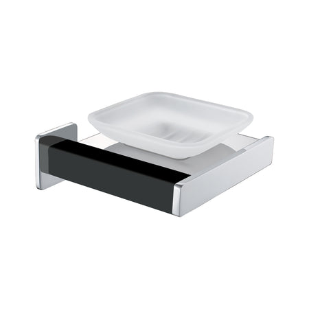 BAI 1530 Soap Dish in Matte Black and Polished Chrome Finish