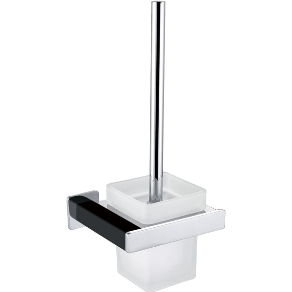 BAI 1532 Toilet Brush with Holder in Matte Black and Polished Chrome Finish