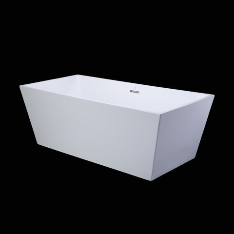 BAI 1607 Acrylic Freestanding Soaking Bathtub 63 Inches