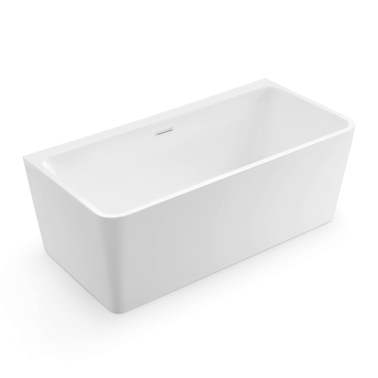 BAI 1620 Acrylic Freestanding Wall Touch Soaking Bathtub 63-inches