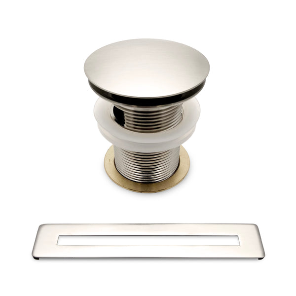 BAI 1697 Pop-up Drain with Overflow Trim for Freestanding Bathtubs in Brushed Nickel