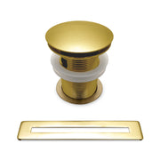 BAI 1699 Pop-up Drain with Overflow Trim for Freestanding Bathtubs in Brushed Gold