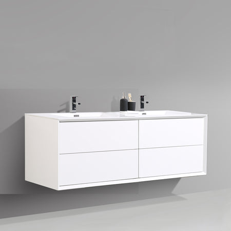 BAI 1705 Wall Hung 59-inch Bathroom Vanity in Gloss White Finish