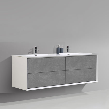 BAI 1706 Wall Hung 59-inch Bathroom Vanity in Stone Gray Finish