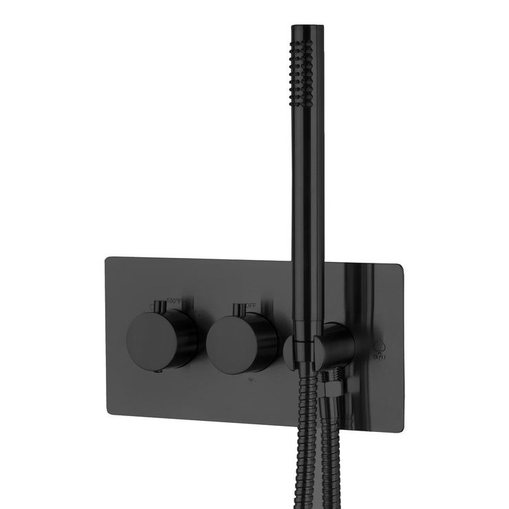 BAI 2100 Concealed Thermostatic Shower Mixer Valve with Handheld Shower in Matte Black Finish