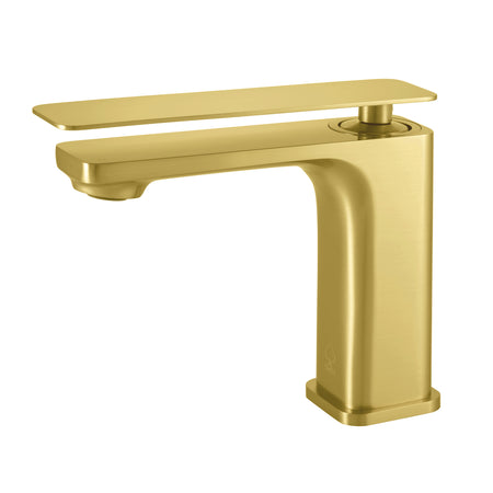 BAI 2609 Single Handle Contemporary Bathroom Faucet in Brushed Gold Finish