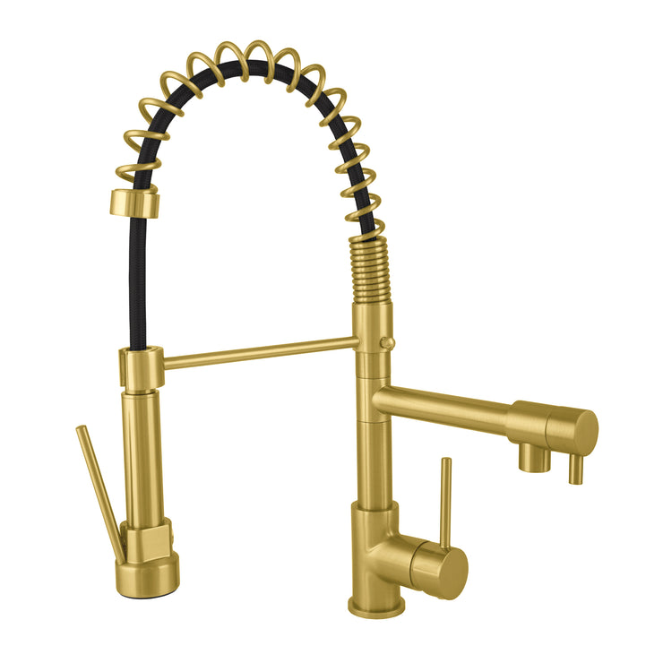 BAI 2611 Single Handle Kitchen Faucet with 2 Spouts and Pull-Down Spray in Brushed Gold Finish