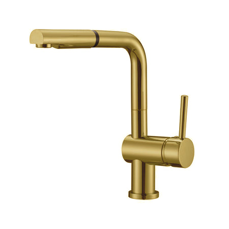 BAI 2615 Single Handle Kitchen Faucet with Pull Down System in Brushed Gold Finish