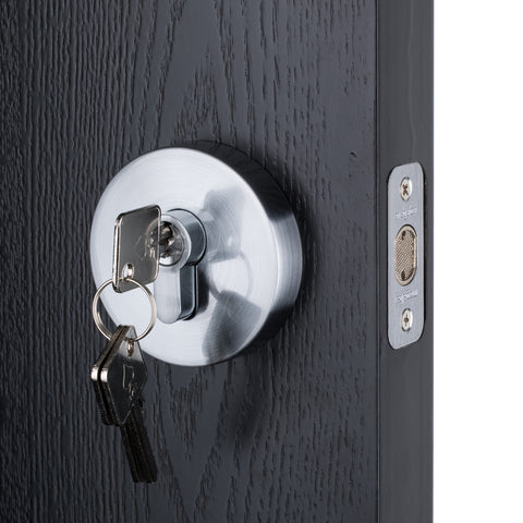 BAI 3096 Deadbolt / Round Rosette / Satin Chrome Finish