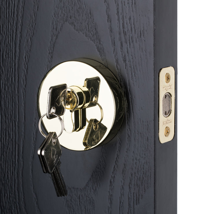 BAI 3097 Round Rosette Deadbolt in Polished Gold Finish