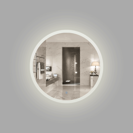 BAI 8041 Round 30-inch LED Bathroom Mirror with Frosted Edge & Anti-Fogging