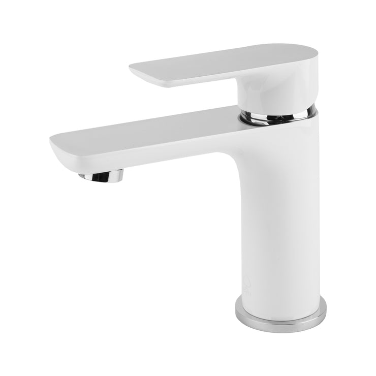 BAI 0608 Single Handle Contemporary Bathroom Faucet in White and Polished Chrome Finish