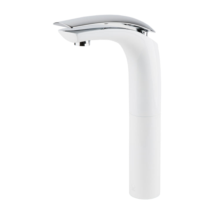 BAI 0614 Single Handle Contemporary Tall Bathroom Faucet in White and Polished Chrome Finish