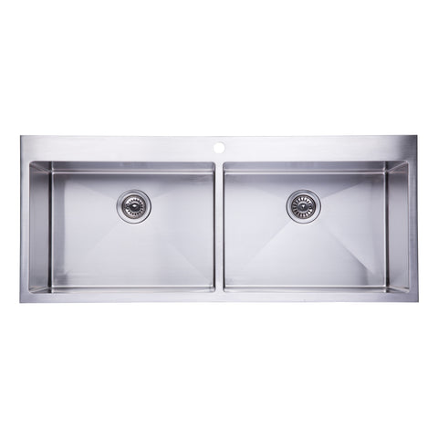 "BAI 1226 - 48"" Handmade Stainless Steel Kitchen Sink Double Bowl Top Mount 16 Gauge"
