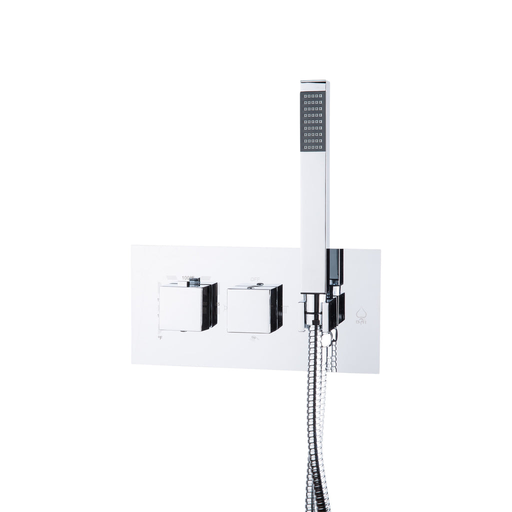 BAI 0113 Concealed Stainless Steel Thermostatic Shower Mixer / Valve With Handheld Wand 2-3 Functions (Square Knobs)