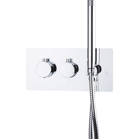 BAI 0112 Concealed Stainless Steel Thermostatic Shower Mixer / Valve With Handheld Wand 2-3 Functions (Round Knobs)