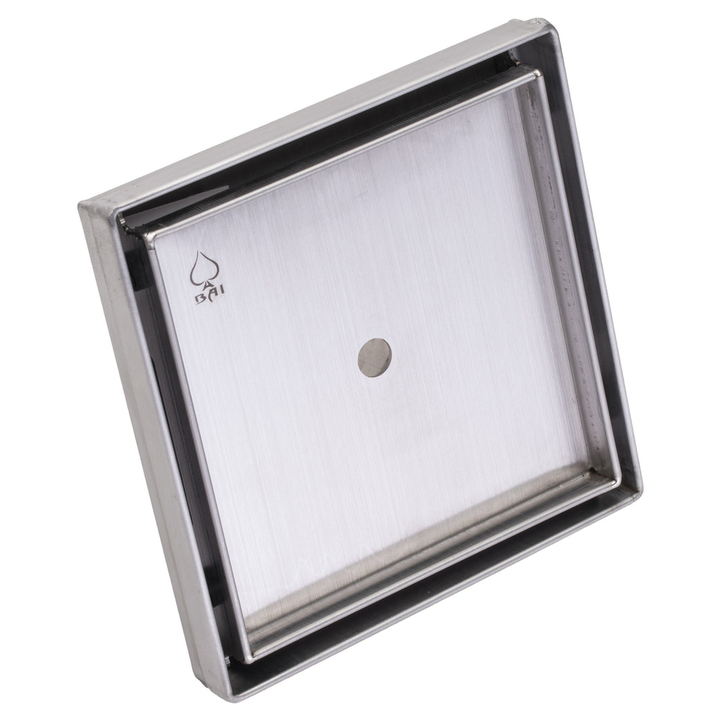 "BAI 0577 Tile - Insert Stainless Steel Square Shower Drain 5""x5"""