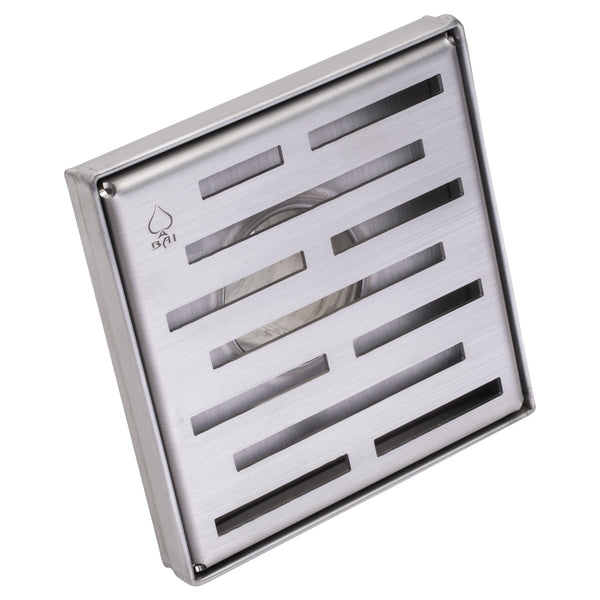 BAI 0565 Stainless Steel 5-inch Square Shower Drain