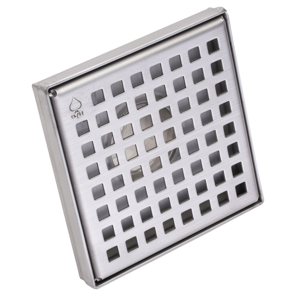 "BAI 0574 Stainless Steel Square Shower Drain 5""x5"""