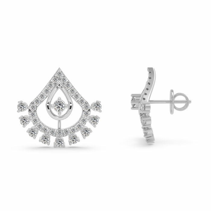 Alluring and Charismatic: A Rare Designed Sterling Silver Stud Earrings