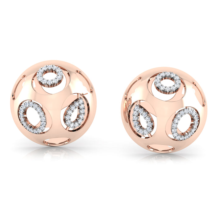 Quirky and Opulent Half-Sphere Sterling Silver Stud Earrings