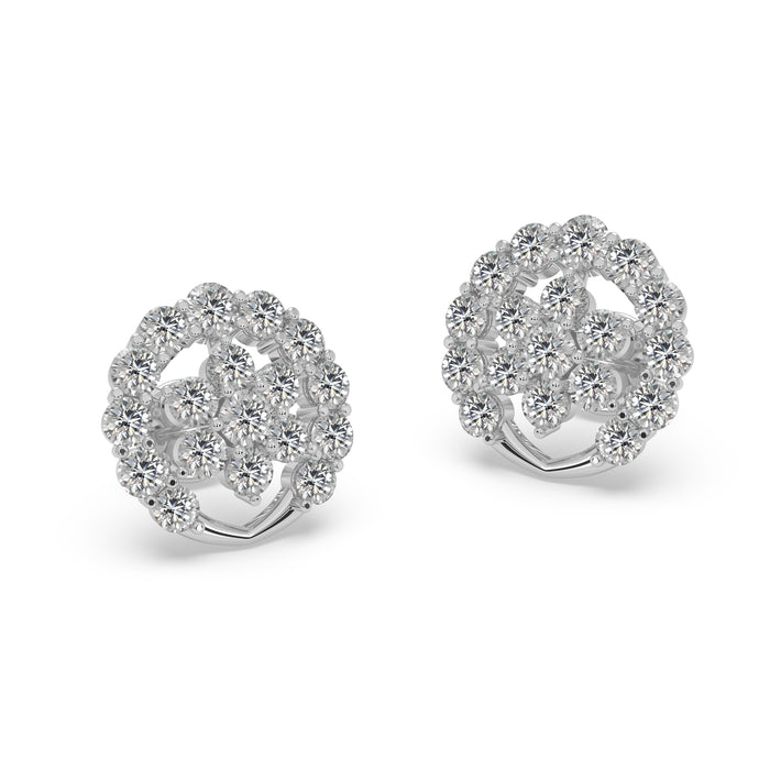 Ethereal Round Sterling Silver Stud Earrings