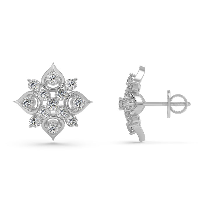 Whimsical Florid Sterling Silver Stud Earrings