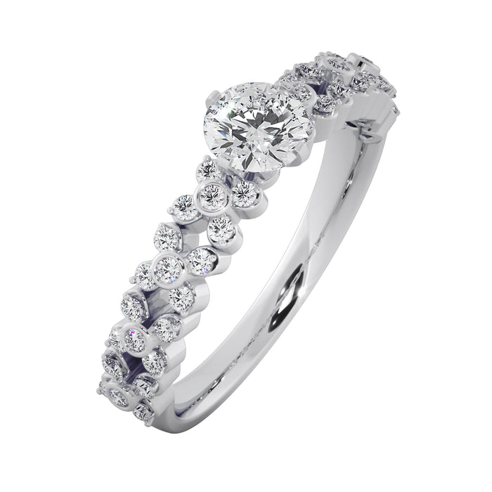 Intricate Sterling Silver Stud Solitaire Ring