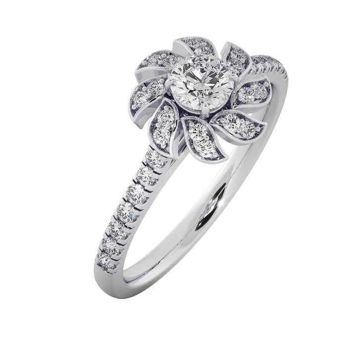 Jasmine Bloom Sterling Silver Solitaire Ring
