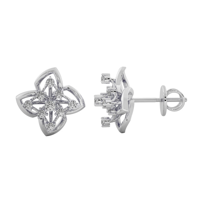 Glimmer Stems Sterling Silver Stud Earrings